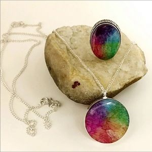 Jewelry - NATURAL RAINBOW SOLAR DRUZY QUARTZ RING & NECKLACE